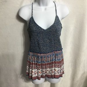 Patrons of Peace Elastic Boho Ruched Strappy Top